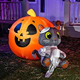 Joiedomi 4 FT Tall Halloween Inflatable Mummy Cat Wrapped with Toilet Paper, Blow Up Inflatables with Build-in LEDs for Halloween Party Indoor, Outdoor, Yard, Garden, Lawn Decorations