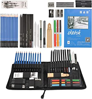48 Pcs Professional Drawing and Sketch Kit Sketching Pencils Set in Zippered Carrying Case, Art Supplies Includes Eraser, ...
