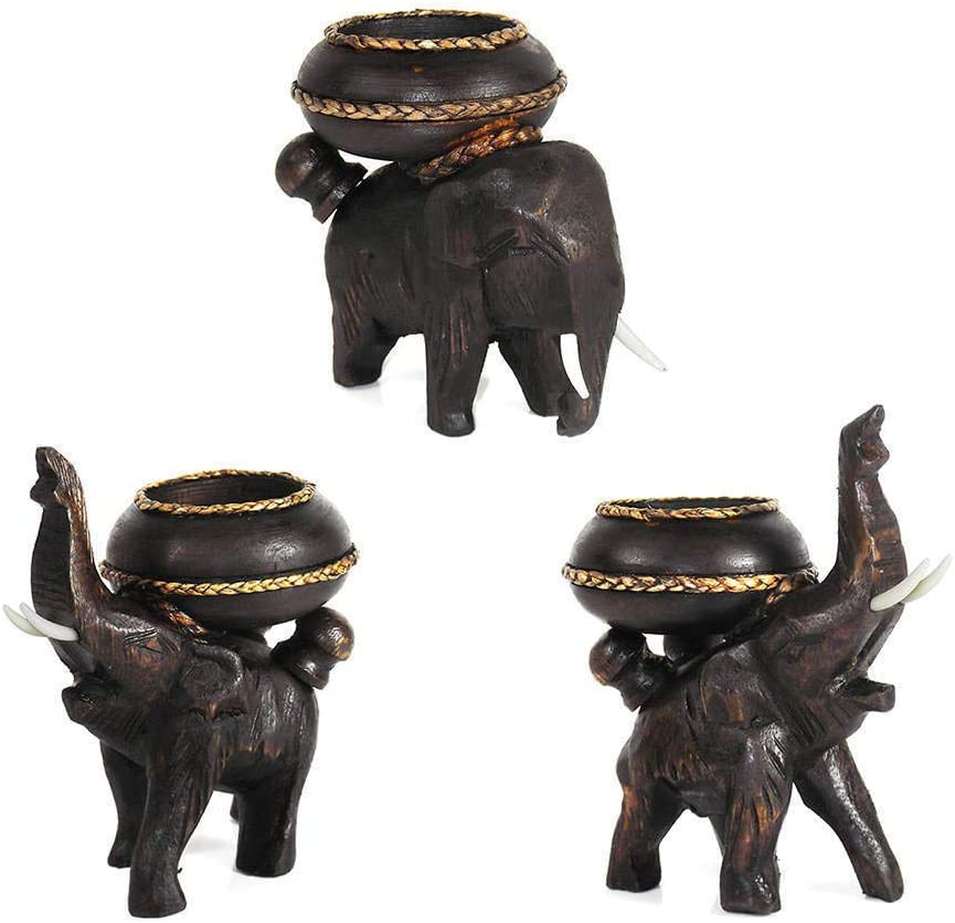 Selling MISC Handmade Three New Orleans Mall Elephants Carved Candle Tree Hol Wooden Rain