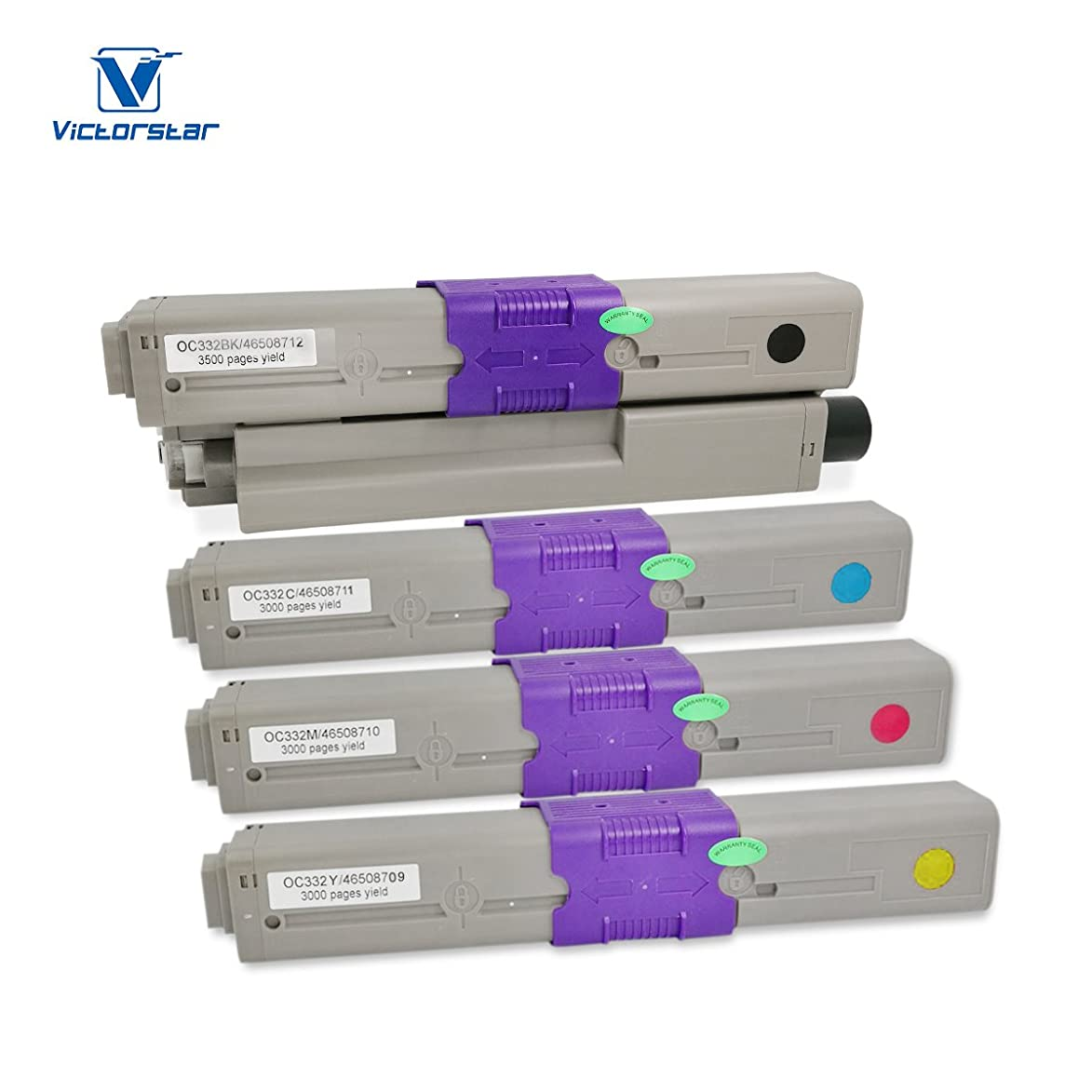 Compatible OKI Toner Cartridges C332 MC363 C332dn MC363dn C332dnw MC332dnw 4 Colors VICTORSTAR 3500 Pages for Black 3000 Pages for C M Y for OKI Okidata Color Laser Printers