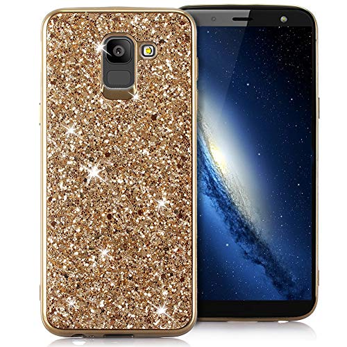 Slynmax Galaxy J6 2018 Hülle Glitzer Bling Schutzhülle Galaxy J6 2018 Mädchen Soft Slim TPU Silikon Hülle Bumper Style Tasche Luxus Handyhülle Kompatibel mit Samsung Galaxy J6 2018 EU Version,Gold