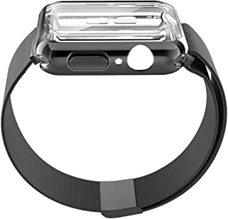 UPBAND Black Band with Case for Apple Watch Series 4 40mm, Band - Stainless Steel Adjustable Replacement Strap, and Case - Overall Protection TPU Screen Protector, Ultra-Slim Compatible with iwatch