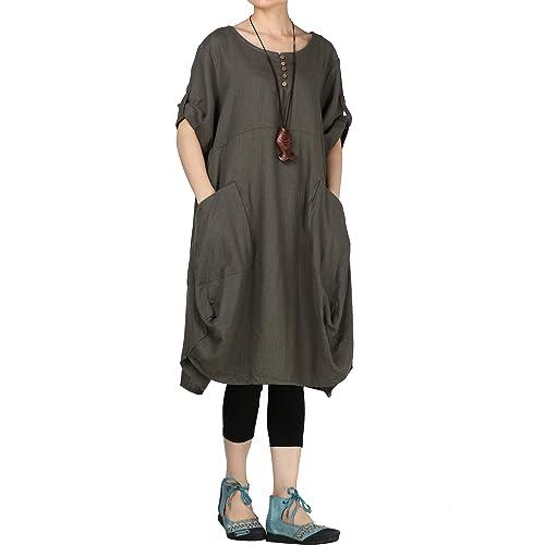 c517fce2f7 Mordenmiss Women s Cotton Linen Dresses Summer Roll-up Sleeve Baggy  Sundress with Pockets