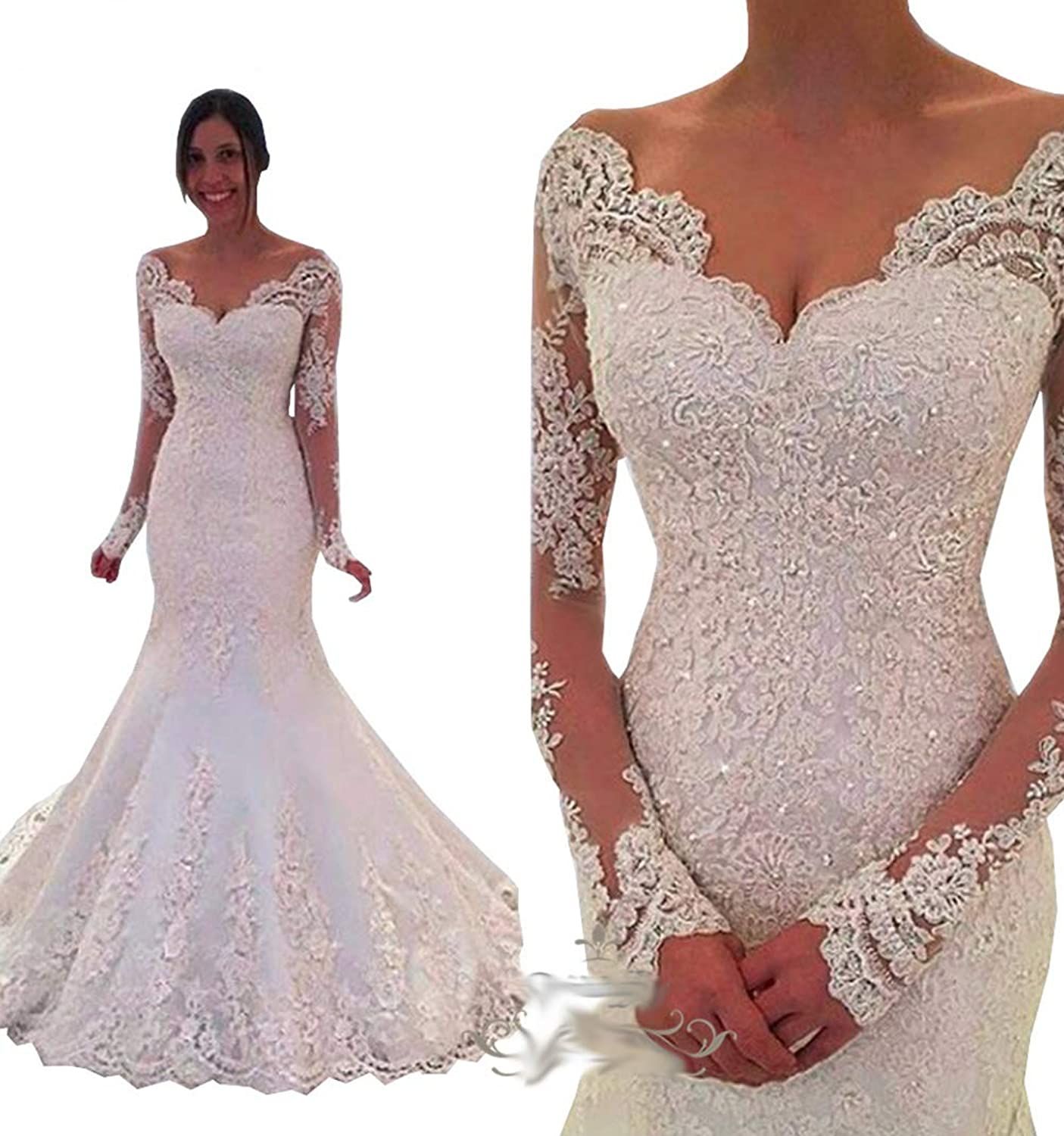 Ryanth Long Sleeve Women's Mermaid Wedding Dresses Luxury Lace Beading Laceup Back Bridal Gowns