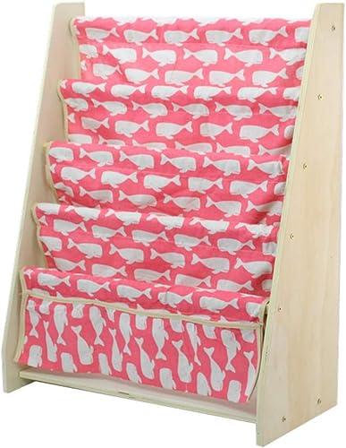 Bücherregal Kinder Sling, Kinder Holz mit Pocket Storage Book Rack Spielzeug Display Organizer Regale-Leinwand