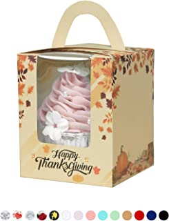 Yotruth Thanksgiving Cupcake Boxes 50 Pack Holiday Fall Gift Boxes Orange and Red Leaves Yellow Bakery Gift Containers with Leaf Turkey Bread Pumpkin Feast