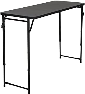 """CoscoProducts 20"""" x 48"""" Adjustable Height PVC Top Table, Black Black"""