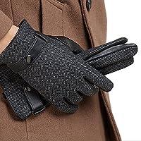 NAPPAGLO メンズ 男性用 ショート レザー 手袋 自由調整ボタン 通勤 通学 スマホ対応 手作り 運転 ドライブ グローブ (XL ダークグレー(スマホ対応のない))