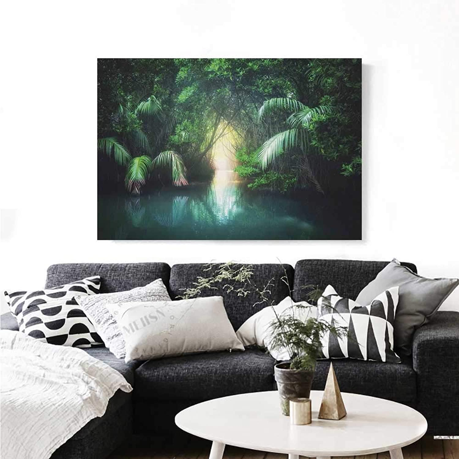 Warm Family Jungle Canvas Wall Art for Bedroom Home Decorations Tropical Lake Mangrove Rainforest Pathway Through Lush Sri Lanka Travel Destination Wall Stickers 36 x32  Green Teal