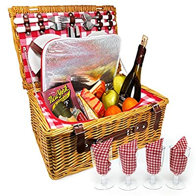 Nature Gear Upgraded 4 Person XL Picnic Basket (4 Person, Red & White)