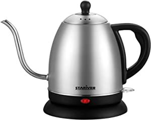 Stariver Electric Kettle Gooseneck Kettle, 1L Cordless Electric Kettle, Pour Over Tea Pot Stainless Steel for Coffee & Tea with Fast Heating, Auto-Shut Off and Boil-Dry Protection Tech
