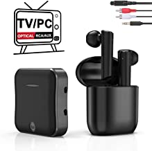 Wireless Headphones for TV Watching, TWS Earbuds Deep Bass Wireless TV Headphone Set with Bluetooth Transmitter for Optical Digital Audio, RCA, 3.5mm Aux Ports TVs, Cellphone, Laptop, PC Plug n Play