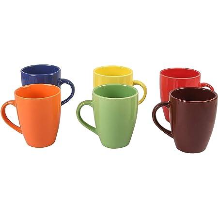 Anwaliya Fauna Tapered Ceramic Coffee Mugs, 250 ml, Set of 6, Glossy Multi Colour