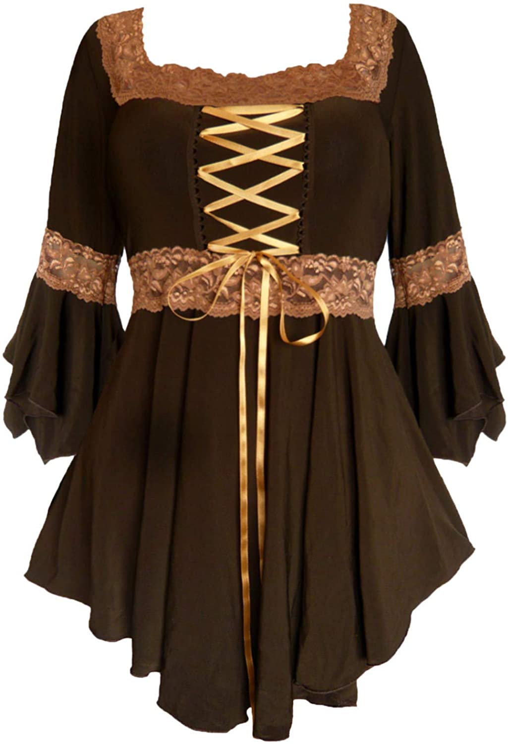 Steampunk Plus Size Clothing & Costumes Dare to Wear Renaissance Corset Top: Victorian Gothic Boho Womens Peasant Festival Fair Cosplay Lace Blouse  AT vintagedancer.com