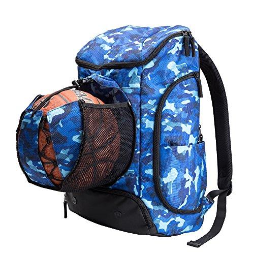 Kuangmi Rucksack mit Ball Tasche Schuhe der Tasche Wet Kleidung Taschen faltbar für Outdoor Sports Basketball Fußball Reisen Schule Gebrauch Blau 30L