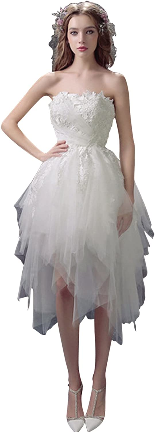 BessWedding Women's Knee Length Strapless Tulle with Lace Party Prom Dress