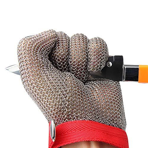 BeesClover Schutzhandschuh, Güteklasse 5, Edelstahl, Maschenkette, Schutzhandschuh, linke und rechte Hand, universelles rotes Armband, M