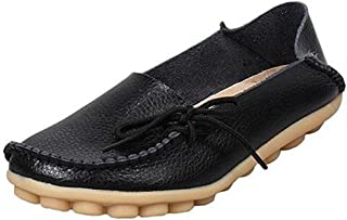 Mordenmiss Women's Casual Solid Color Moccasins Leather Loafer Shoes