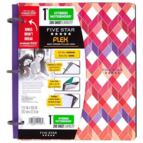 Five Star Flex Hybrid NoteBinder, 1 Inch Binder with Tabs, Notebook and 3 Ring Binder All-in-One, Geo (29148BQ7) Photo #9