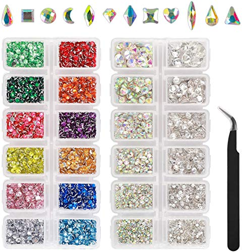 Outuxed 5000pcs AB Crystal Flatback Rhinestones Mixed Size and Shapes 3D...