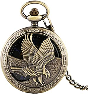 YXZQ Pocket Watch, Vintage Bronze Hollow Eagle Hand Wind Mechanical Chain Black Dial Blue Roman Numerals Men Watches Clock Gifts
