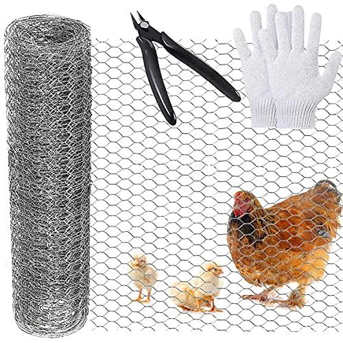 Rete metallica di pollo 400mm×7m, rete metallica di pollo zincata esagonale, rete metallica di pollo per recinzioni fai da te e decorazioni per la casa con mini pinze per tagliare e guanti