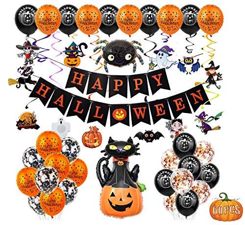 Fontee® 60 piezas halloween decoracion accesorios, Happy Halloween globos, pancarta, araña, murciélago, bruja, calabaza fantasma, para barra de Halloween, suministros de decoración para el hogar