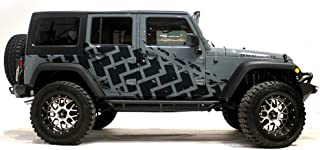 Factory Crafts Jeep Wrangler 2007-2016 4 Door TIRE Tracks Graphics 3M Vinyl Decal Wrap Kit - Matte Black