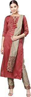 Inddus Maroon Kurta & Pant with Woven Dupatta (Fully-Stitched).
