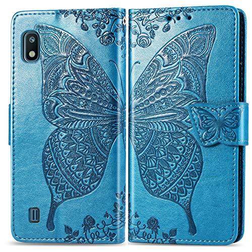 Jeewi Hülle für Galaxy A10 / M10 Hülle Handyhülle [Standfunktion] [Kartenfach] [Magnetverschluss] Tasche Etui Schutzhülle lederhülle klapphülle für Samsung Galaxy A10/M10 - JESD020347 Blau