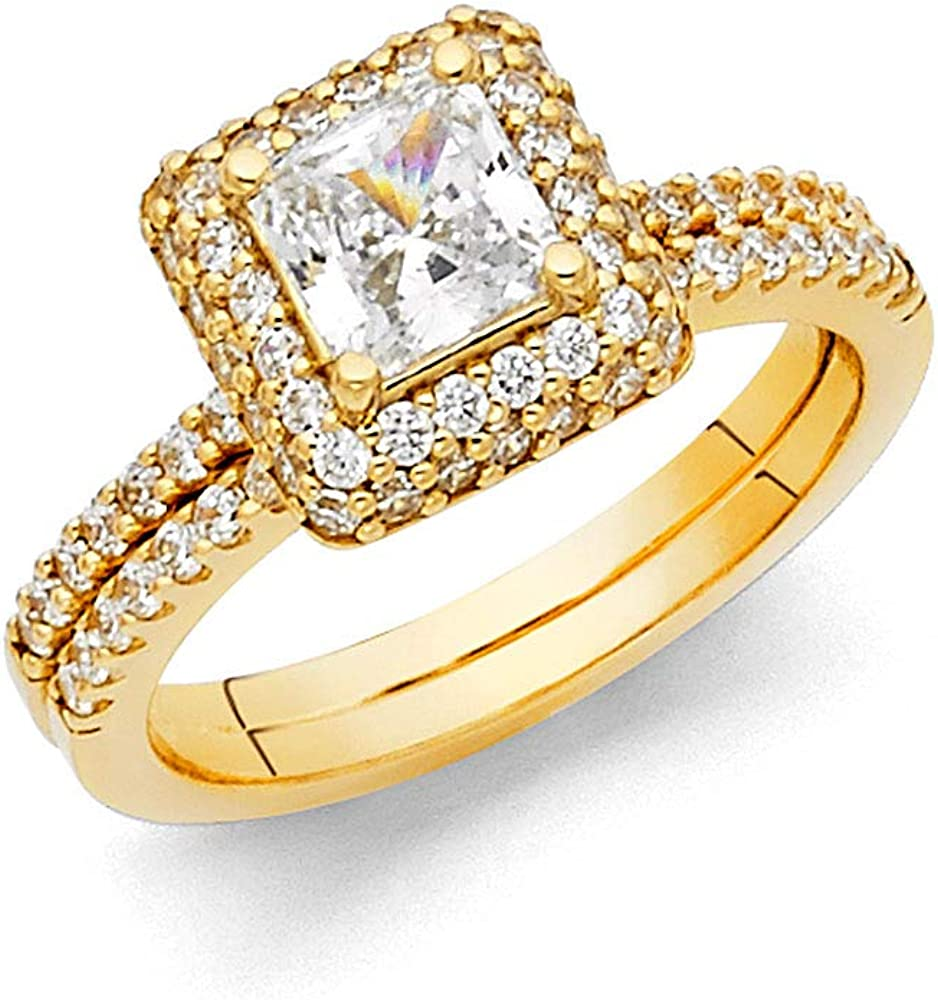 Wellingsale Ladies Ranking Free Shipping New TOP6 Solid 14k Yellow Gold Polished White CZ -OR-