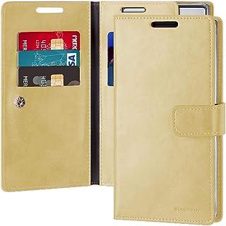غطاء حافظة حماية ومحفظة لجهاز سامسونج جالكسي نوت 10 بلس من الجلد مع جيوب داخلية متعددة، ذهبي