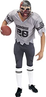 Creepy Football Zombie Halloween Costume for Men - Mask, Jersey, Shoulder Pads