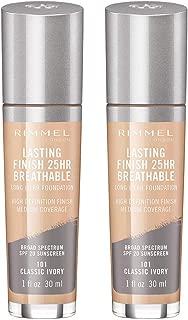 Rimmel lasting finish breathable foundation, classic ivory, 1 Fl Oz, Pack of 2