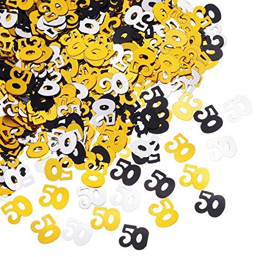 Outus 50 Confeti Número Confeti Aniversario 50 Aniversario Decoración, 50 g / 1.7 onzas
