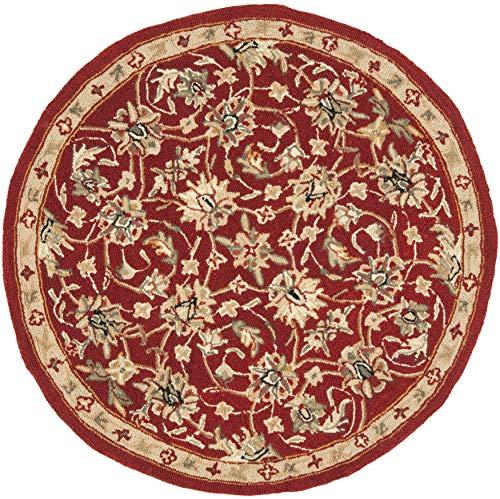 Safavieh Chelsea Collection HK78B - Alfombra Redonda de Lana (Gancho a Mano, 3 x 3 m), Color Burdeos y Marfil