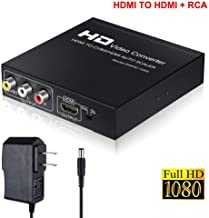 AOKEN HDMI to RCA and HDMI Adapter Converter, HDMI to HDMI+3RCA CVBS AV Composite Video Audio Adapter/Splitter, with Power Adapter Support 1080P, PAL, NTSC, for HD TV, Older TV,Camera, Monitor, etc