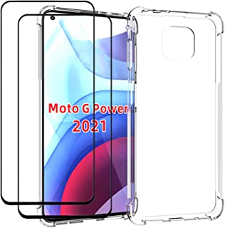 EasyLifeGo for Motorola Moto G Power 2021 Case with Tempered Glass (2 Pieces) Slim Shock Absorption TPU Soft Edge Bumper w...