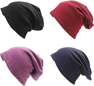 BLUBOON Soft Cotton Slouchy Stretch Beanie Hat Hipster, 4 Pack of Baggy Chemo Hats for Men and Women