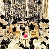 Birthday Decorations for Adult, String Light Party Decoration kit Black and White Balloons Perfect for Men and Women Birthday