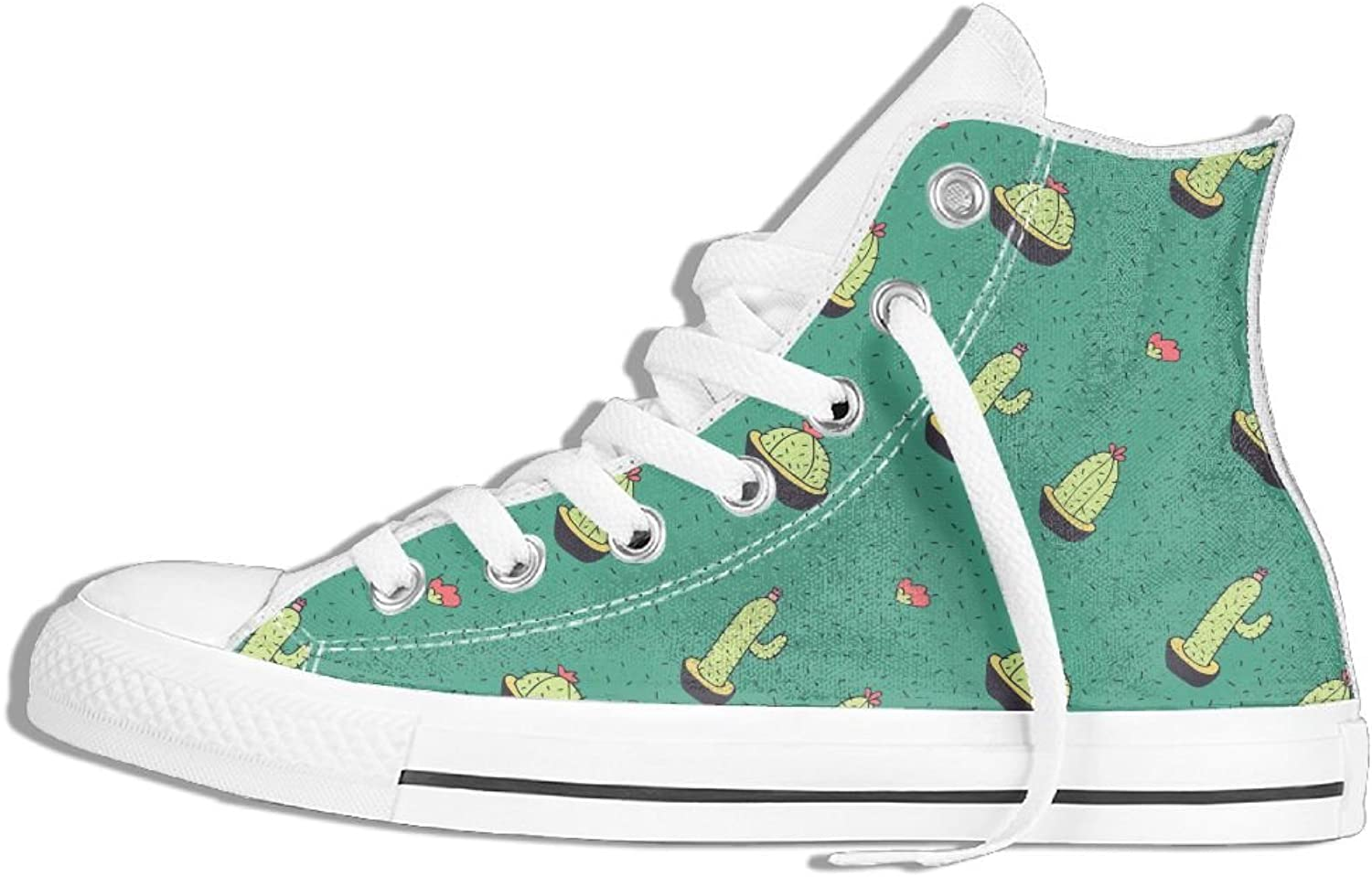 Unisex High-Top Canvas Sneakers Cartoon Cactus Flat Anti-slip Sports Trainers shoes
