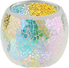Fenteer Mosaic Glass Votive Candle Tea Light Candelabra Candlestick, Moroccan Style, Home Party Candlelit Case - #7, as de...
