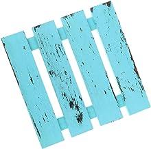Miniatyr naturligt trä dekorativ bräda gör-det-själv hantverk för trädgård gräsmatta grind vakt bar material – ljusblå, S