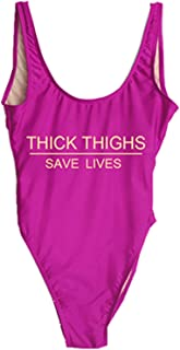 FCHICH Women's One Piece High Cut Swimsuit Thick Thighs Saves Lives Print Backless Bathing Suit