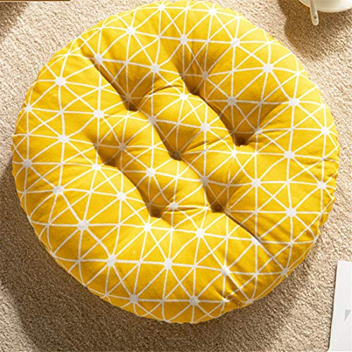 Chickwin Cushion Chair, Premium Padded Chair Cushions Quilted Seat Pads Sofa for Indoor and Outdoor Use Pressure Relief Cushion Great As Office Thicker (40x40cm,Yellow)