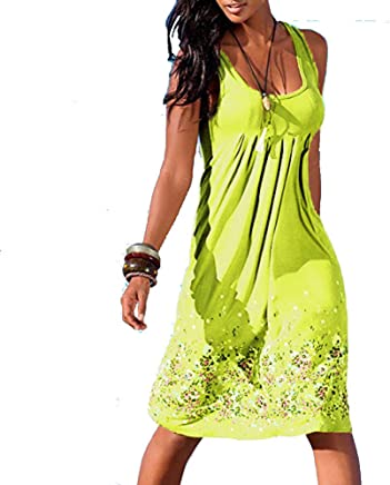 7d99fab990 Handyulong Women Dresses Casual Loose Summer Tunic Tank Dress Pleated Swing  Midi Dress Beach Sundress Party
