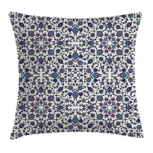 Ambesonne Orient Throw Pillow Cushion Cover, Moroccan Floral Pattern with Victorian Rococo Baroque Design, Decorative Square Accent Pillow Case, 24