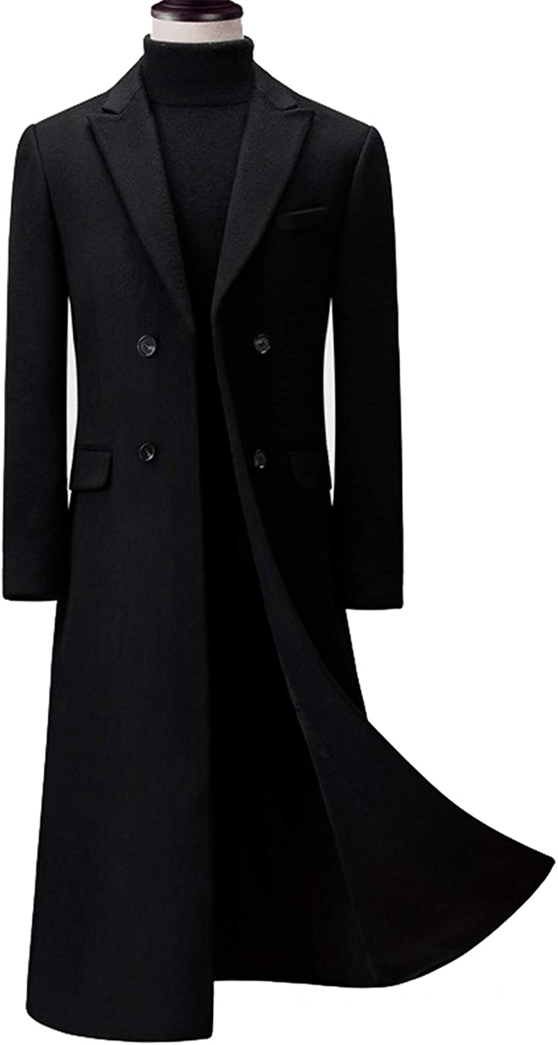 Snhpk Men's Wool Blend Trench Coat Jacket, Double Breasted Pea Long Thick Slim Warm Business Outwear,Black,M