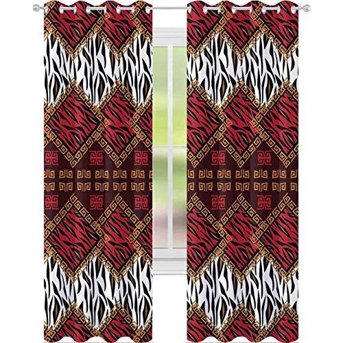 cortinas de la ventana, Piel de Animal Estilizado Rayas en Patrón de Diamante Nativo Tribal Obra de Arte, 2 Paneles W52 X L108 Ventana Tratamientos Cortinas para Dormitorio, Rojo y Marrón