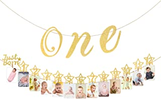 Hifot 1st Birthday Photo Banner with High Chair Glitter Gold ONE Decoration, Monthly Milestone Baby Photo Prop Bunting for Newborn to 12 Months First Birthday Party Supplies Decor Set (Gold One)